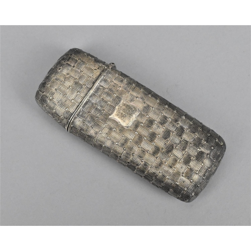 67 - An early Victorian silver cigar case, Birmingham 1841, with textured woven pattern body and empty ca...