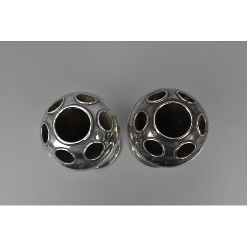 72 - A pair of silver tulip vases by Horace Woodward & Co Ltd, Birmingham 1919, with six rings around a c...