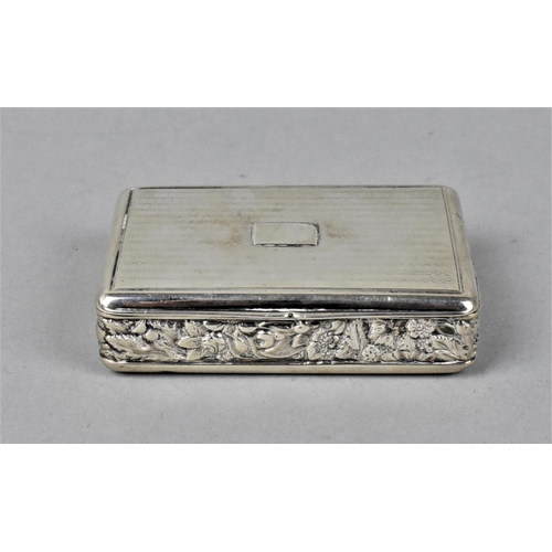 8 - A George III silver snuff box by Daniel Hockley, London 1818, with engine turned detail to the lid a...