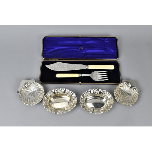 82 - A cased set of Victorian silver fish servers by Allen & Darwin Sheffield 1896, with engraved floral ...