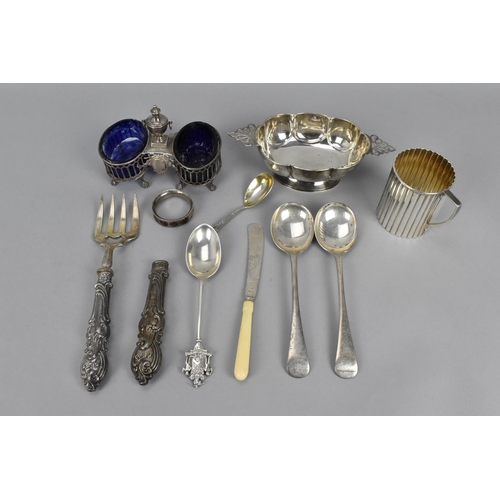 86 - A small collection of miscellaneous silver to include a twin handled bowl by Samuel Walton Smith, Bi...