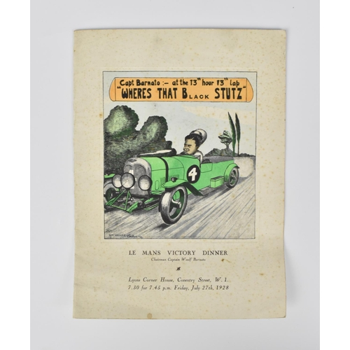94 - An original 1928 Le Mans Victory Dinner menu, given by the directors of Bentley Motors Limited to th...