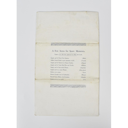 95 - An original 1926 First Annual Dinner menu for Bentley's Motors Limited, held at the Hotel Grand Cent...