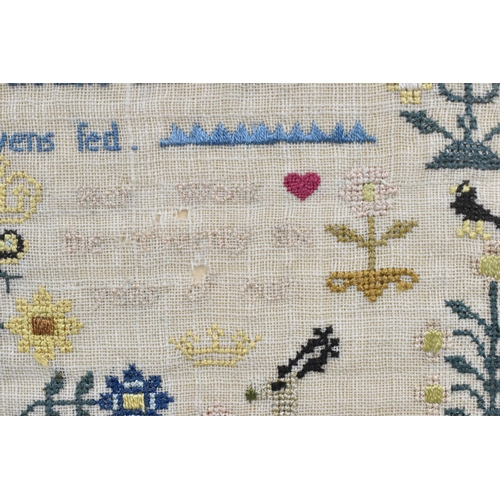 121 - A late 18th century sampler, with alphabet and central verse flanked by birds and flowers, made by S...