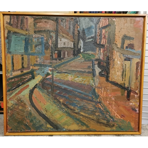 202 - A complimenting pair of 20th century paintings depicting a street scene in Leicester City, one durin...