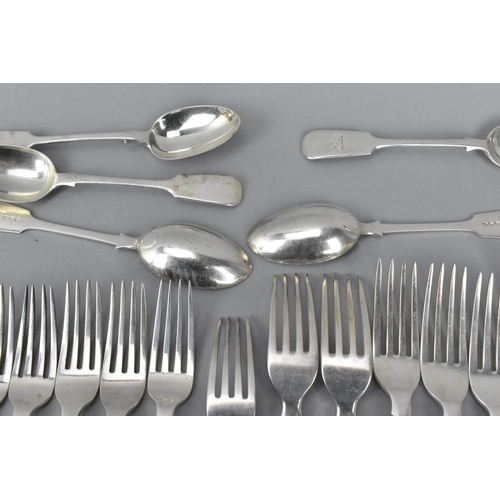 80 - An assortment of George III and late Victorian silver flatware, dates ranging from 1806 (one fork) t...
