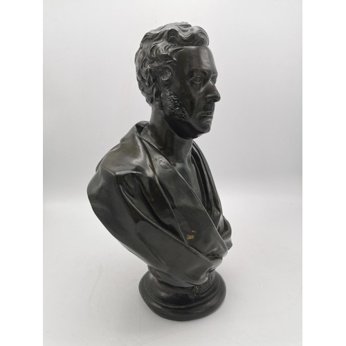 206 - After Edward William Wyon (1811-1855) bronze bust of George Parker Bidder (1806-1878), in the Classi...