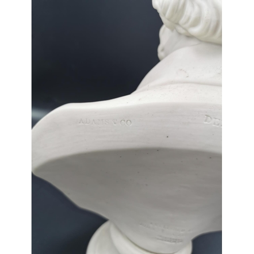207 - A 19th century  parian bust of Lord Derby by John Adams & Co., after the sculptor E.W. Wyon, raised ...