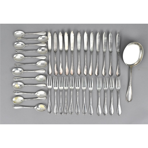 11 - A 20th century Italian silver twenty-four piece set of fish eaters, comprising twelve knives and for...