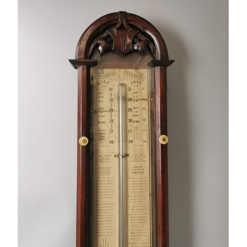 133 - An Admiral Fitzroy wall barometer in a mahogany case, the glazed front with turned bone key, 106 cm ...
