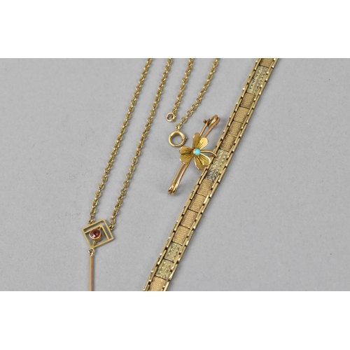 54A - A 9ct gold flat link bracelet with box clasp, with textured detail to each link, 18 cm long, togethe...