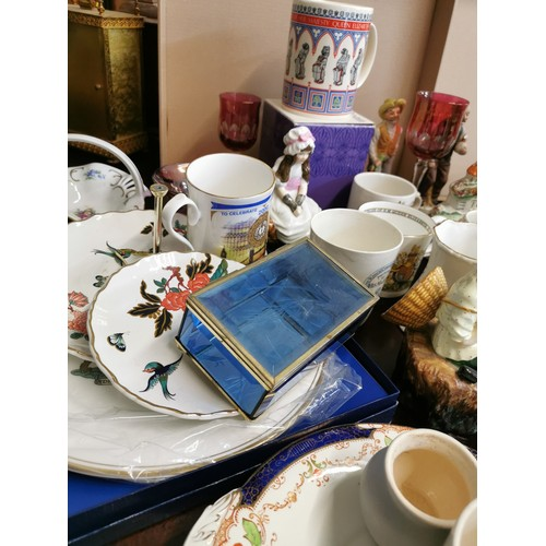 62 - A collection of miscellaneous English ceramics and glass, to include royal commemorative mugs, one b...
