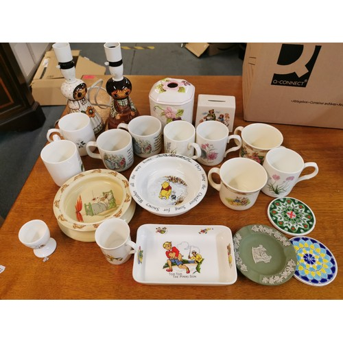 81 - A small collection of baby plates to include a Doulton Winnie the Pooh one, a Tinsbury nursery rhyme...