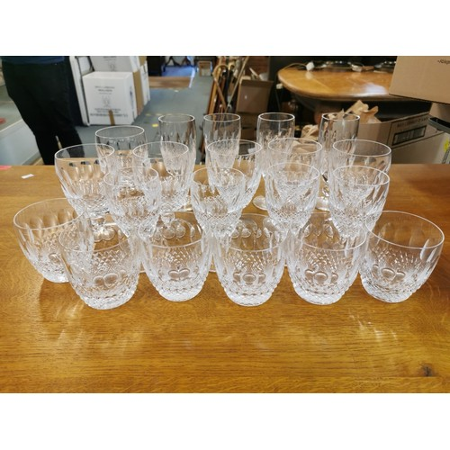 91 - Waterford Colleen crystal glasses, comprising four port glasses, six short tumblers, six stemmed win...