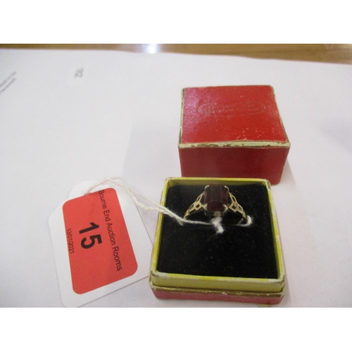 117 - A 9ct gold and silver set garnet dress ring, weight 2.4g in total, ring size UK letter R Location: C...