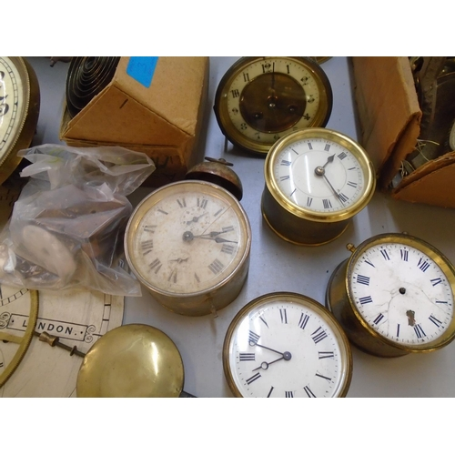 3 - A quantity of various clock movements, parts and accessories to include mantle clocks, anniversary c...