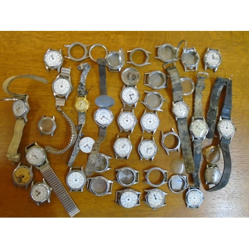 14 - A group of wristwatches to include Smiths, Cyma, Verity and Hy Moser, movements and other watch part...