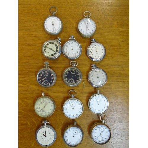 83 - A group of Ingersoll, Smiths and other manual wind pocket watches, in plated and chrome cases (14) L...