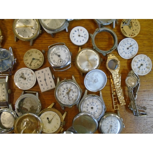 84 - A selection of wristwatches, movements and case parts to include Smiths, Cyma, Nijinsky De Luxe, Lob...