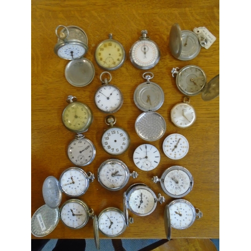 85 - A group of twenty pocket watches and movements to include Cyma, Smiths, Novoris, G & M Simons moveme...