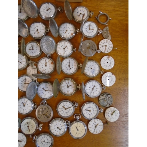 87 - A quantity of various pocket watches to include Cyma, RNIB, Smiths and others, along with a quantity...
