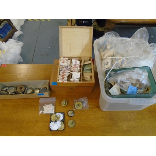 90 - A small group of watch movements, dials and parts to include Jno Hodges Mincing Lane, various watch ...