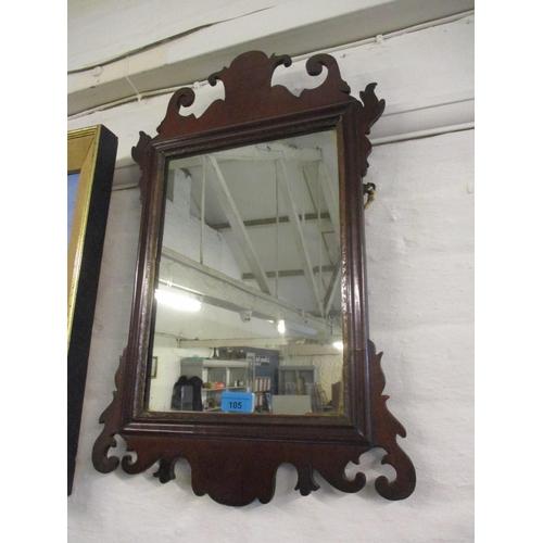 105 - A Chippendale style mahogany wall mirror 38cm x 59cm Location: RWB...