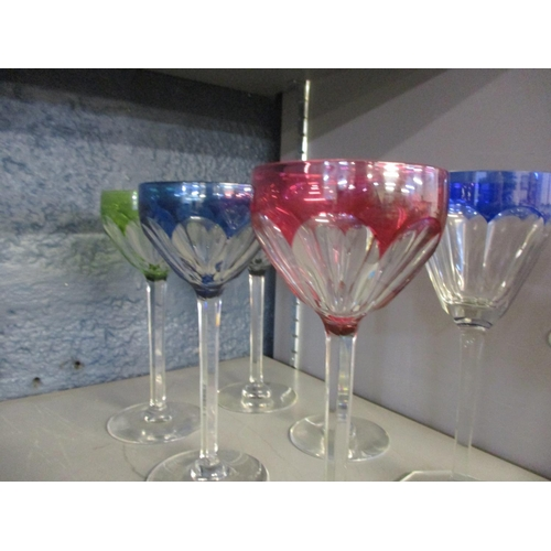 113 - Six Bohemian hock glasses, five matching, one similar Condition: no apparent chips or cracks Locatio...
