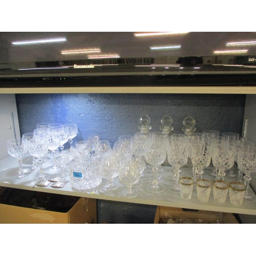 116 - A quantity of miscellaneous cut glassware to include three hob cut decanters with three silver label...