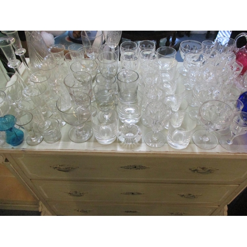120 - Victorian runners, a Victorian lemonade glass, a blue cobalt glass centrepiece with decorative glass...