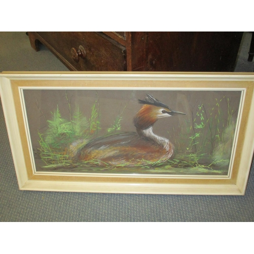 125 - A 20th century pastel study of a heron, 28 x 59cm Location: LWM...
