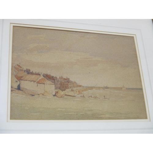 127 - Hugh McKenna, Scottish artist, pencil and watercolour study of a coastal scene, 27 x 37cm Location: ...