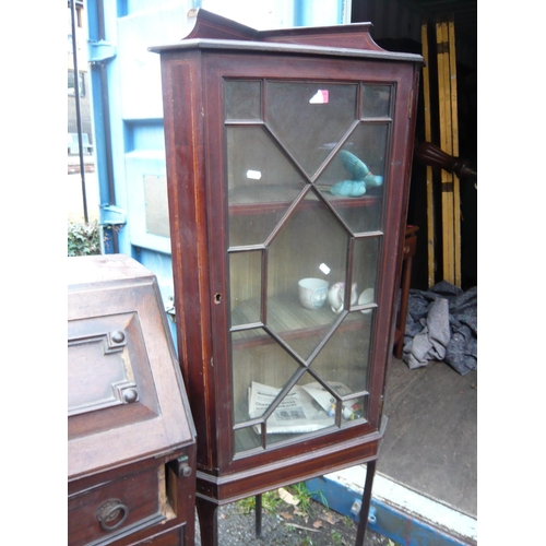 128 - A Victorian mahogany bookcase with two glazed doors, together with an early 20th century oak open bo...