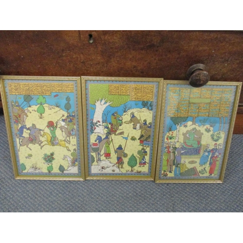 129 - A set of three 20th century Persian silk embroideries, framed and glazed, 29 x 19xcm Location: RWB...