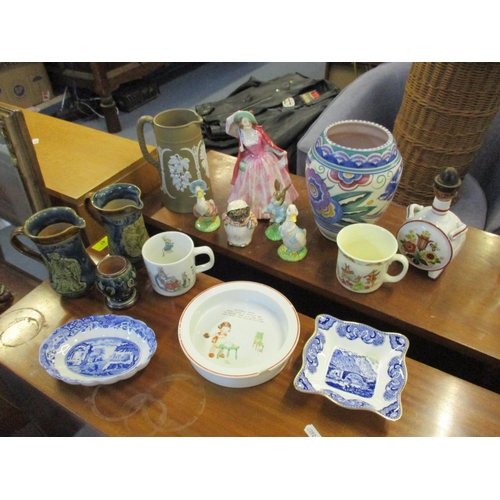 133 - A collection of ceramics and porcelain to include a Royal Doulton 'Mirabel' figurine, a pair of Doul...