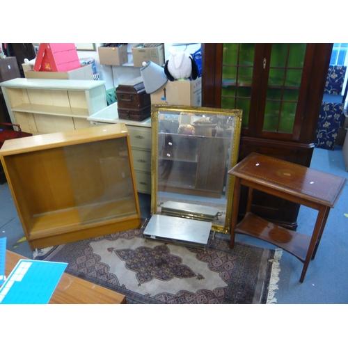 140 - Small furniture to include a late 20th century gold coloured wall mirror, a retro light oak glazed c...