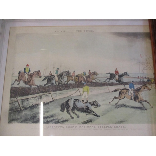 144 - Four framed and glazed coloured prints, one entitled The Dutch Liverpool Grand National Location: RW...