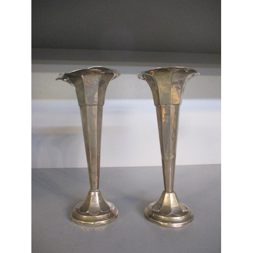 17 - A quantity of silver and silver plate to include a pair of 1920's silver trumpet formed specimen vas...