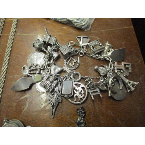 18 - A collection of silver and white metal jewellery to include a charm bracelet, chains and rings Locat...