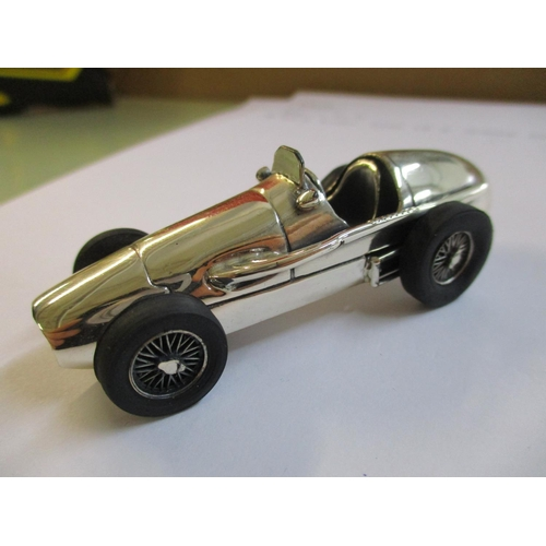 20 - A solid silver model of a vintage racing car, marked 925 Location: Cab...