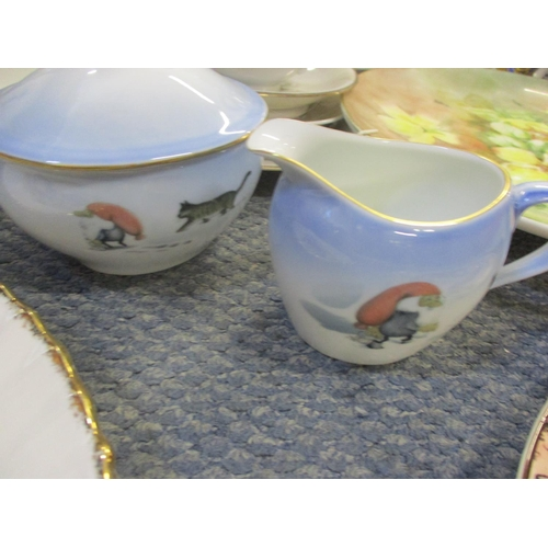 23 - A Denby Greenwheat part dinner service, a Bing and Grondahl sugar bowl and creamer, an Arther wood c...