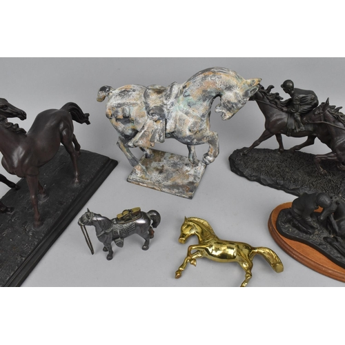30 - Three composition figural groups of horses and jockeys, together with a Tang style Verdigris metalli...