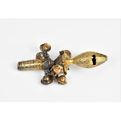 33 - A George III silver gilt baby rattle by James Atkins, London 1807, with whistle, two tiers of bells ...
