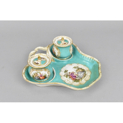 44 - A Dresden Augustus Rex porcelain desk set comprising a fitted tray with two lidded pots, each piece ...