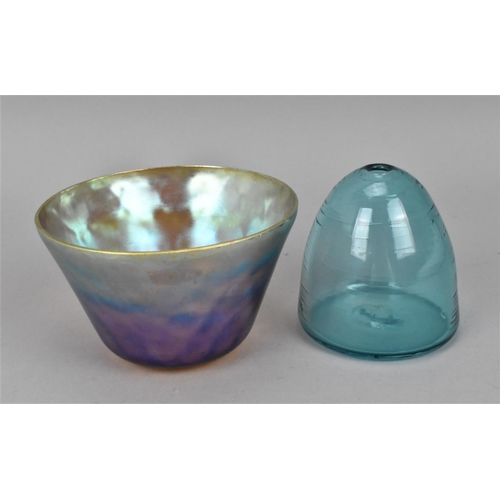 47 - A WMF Myra lustre glass bowl with everted rim, together with a hand blown design beehive shaped glas...