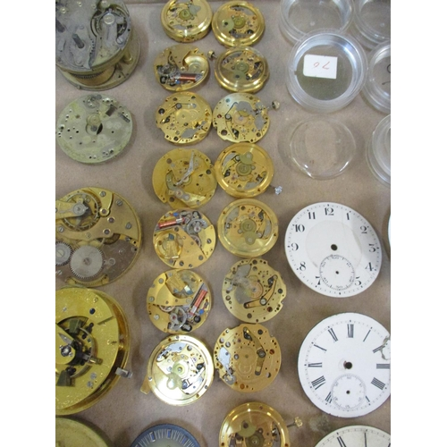 5 - A quantity of pocket watch and wristwatch movements, dials and parts, Viners, London Chronometer mov...