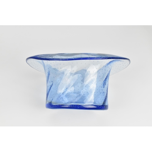 50 - A mid century design hand blown blue glass vase in the shape of a top hat, possibly by Webbs, modell...