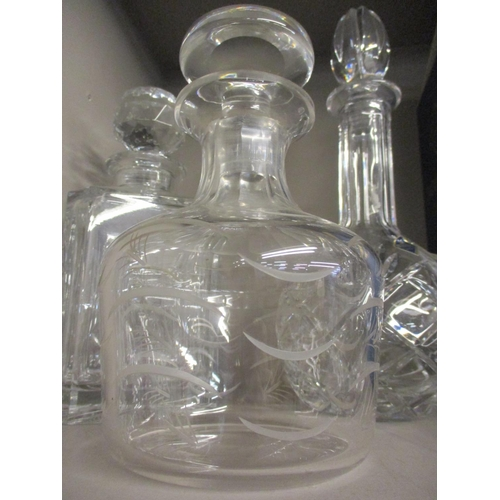 52 - Seven cut glass decanters to include two Stuart Crystal examples  Location: RWB...
