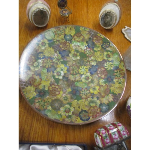 57 - A mixed lot to include Mille Fleurs pattern cloisonné flute Limoges scent bottles, glass paperweight...