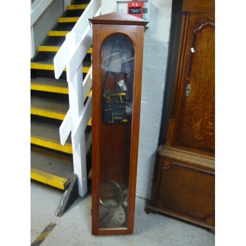 68 - A mahogany Synchronome master clock case, movement, dial and pendulum, 130cm high Location: FSR...
